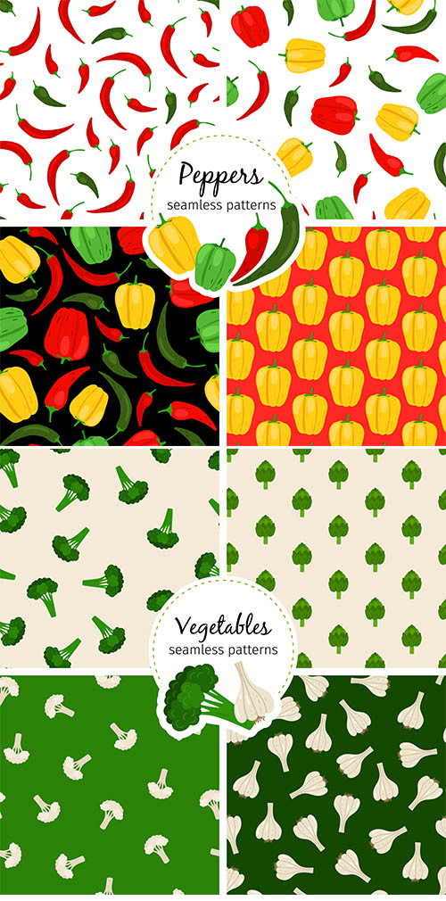 Chilli, Vegetable and bell pepper patterns