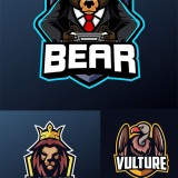 Mascot for sports and esports logo isolated