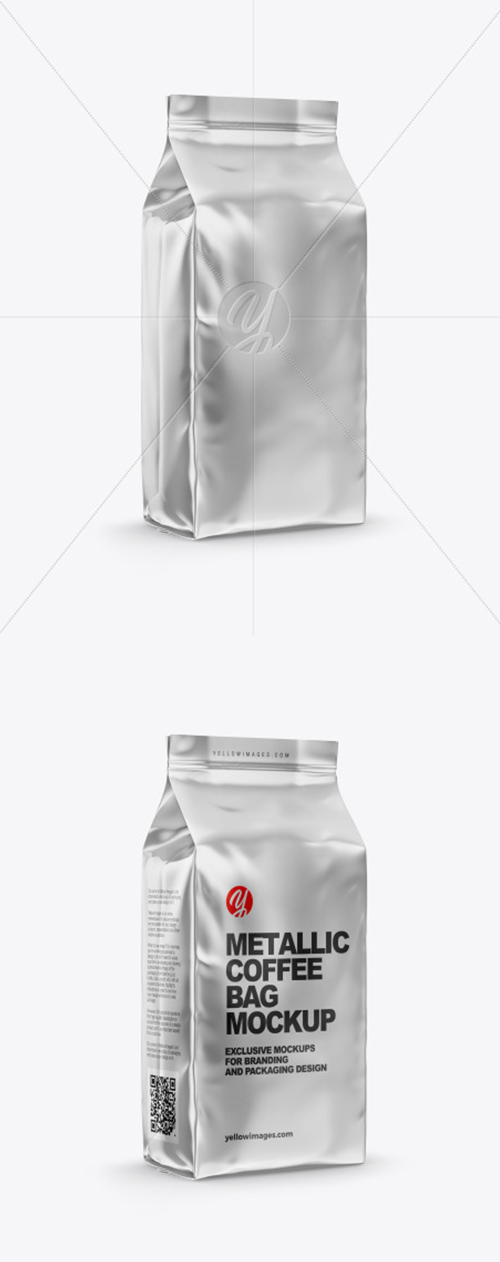Metallic Coffee Bag Mockup - Half Side View 61986
