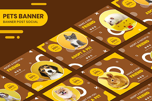 Adopt A Pet Instagram Post Collection psd Banner