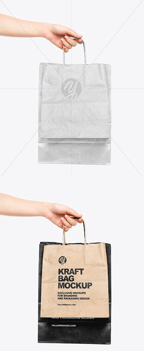 Hand w/ Two Paper Bags Mockup 59341