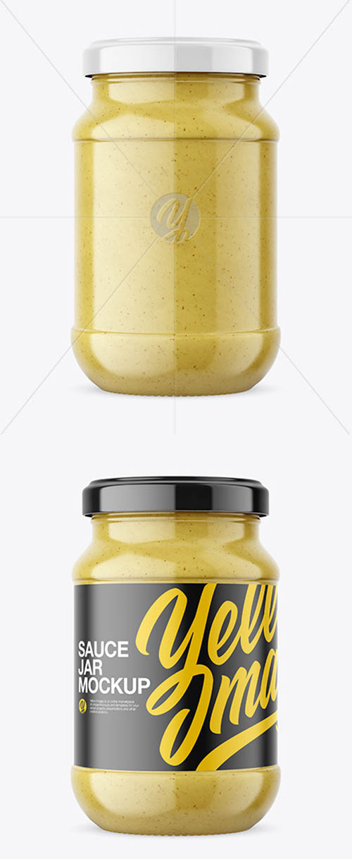 Clear Glass Jar with Mustard Sauce Mockup 59312
