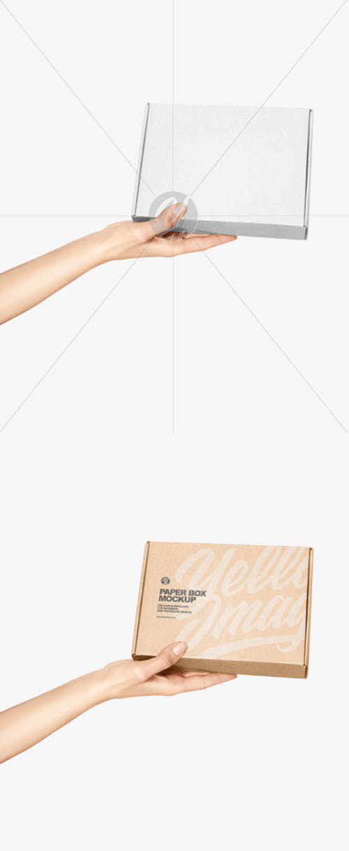 Paper Box in a Hand Mockup 61247